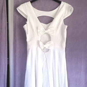 White Bow Accent Dress